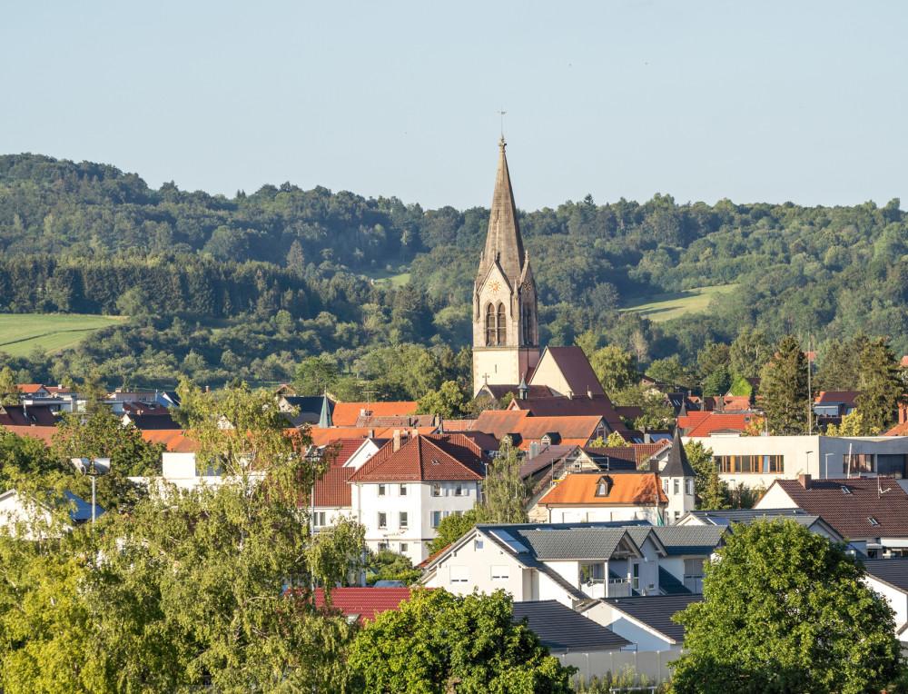 Blick auf Münsingen mit Martinskirche