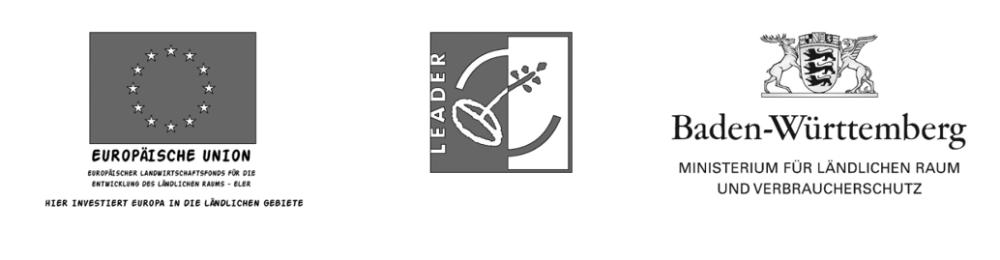 Logos der Förderer EU, LEADER und das Land Baden-Württemberg