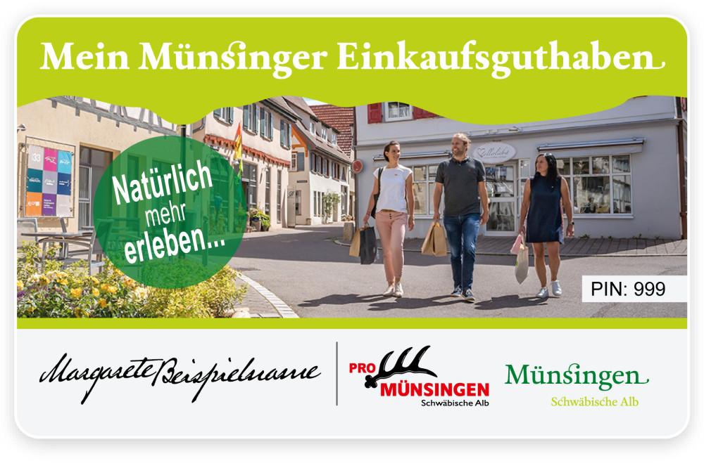 Ansicht Münsinger Einkaufsguthaben im Scheckkartenformat